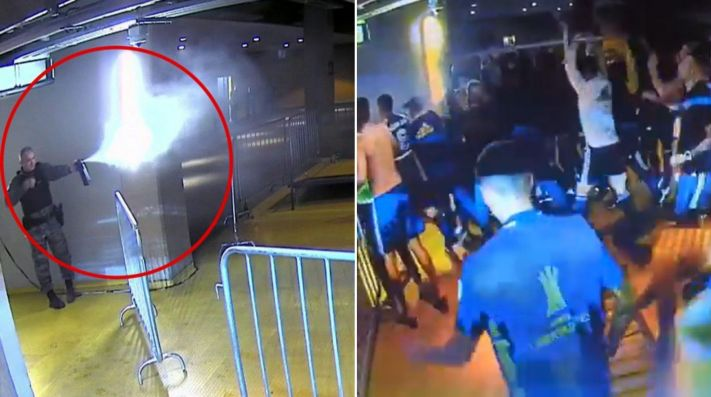 Policía brasileña contra Boca Juniors: Combos y gases lacrimógenos tras polémica eliminación